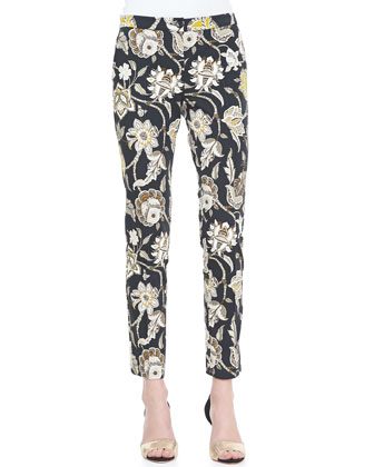 Floral-Print Front-Closure Pants, Black/Multi