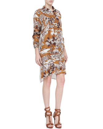Dual-Print Shirt Dress, Multi
