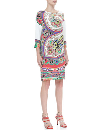 Three-Quarter-Sleeve Paisley Shift Dress