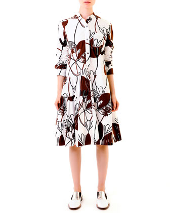 Woodcut Lily-Print Poplin Dress & Flower-Buckle Belt