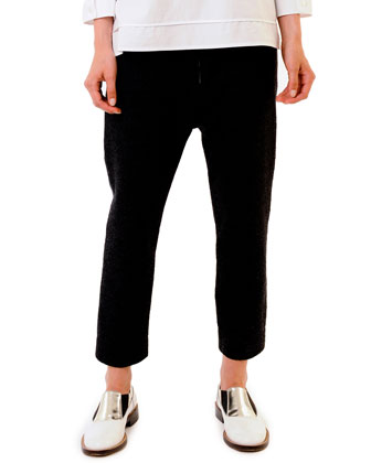 Elastic-Waist Ankle Pants, Blue-Black