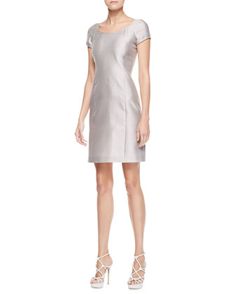 Short-Sleeve Doupioni Dress, Limestone