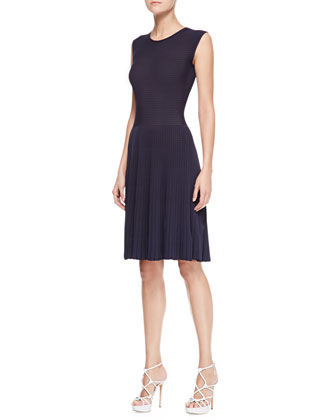 Checkerboard-Knit Dress, Zephyr Navy Blue
