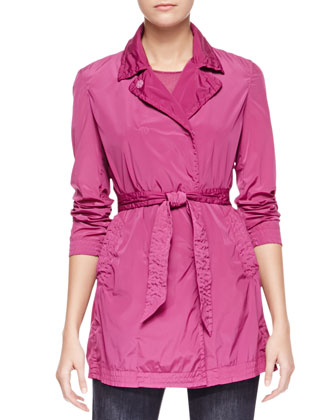 Stretch Tech Fabric Trench Coat, Bougainvillea