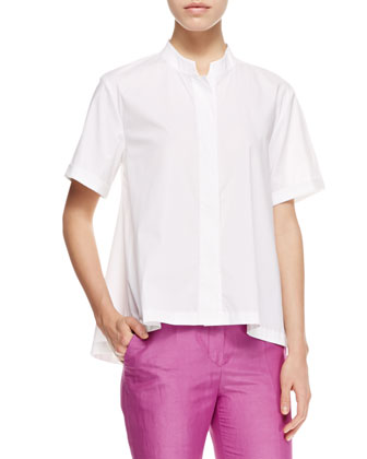 Short-Sleeve Poplin Blouse & No-Waist Linen-Silk Pants