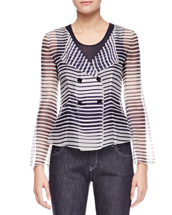 Striped Organza Double-Breasted Blouse, Blue/White