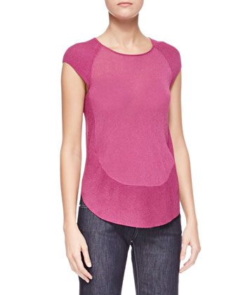 Cap-Sleeve Knit Top, Bougainvillea