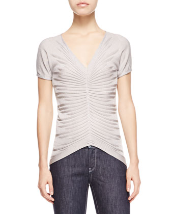 Gathered-Front Knit Top, Limestone