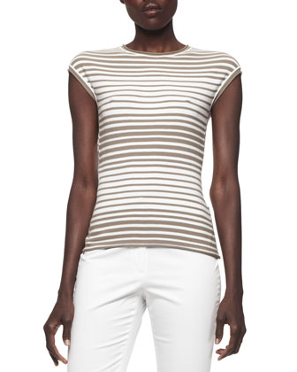 Cap-Sleeve Graduated-Stripe Knit Top