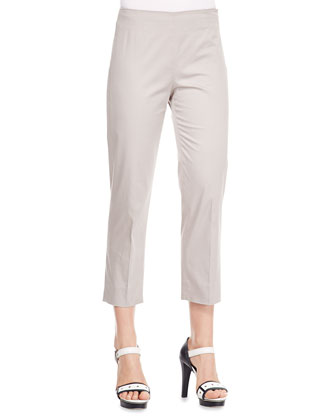 No-Waist Stretch Cotton Pants, Chord Gray