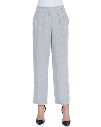 Cuffed Cropped Linen Pants