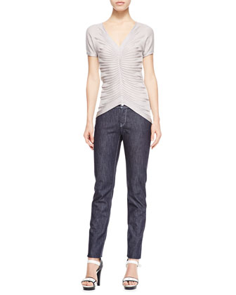 Striped Organza Double-Breasted Blouse, Silk Knit Tank & Cropped Dark Denim Jeans