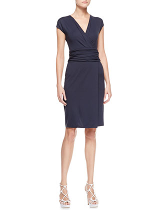 Ruched-Waist Surplice Dress, Zephyr Navy Blue