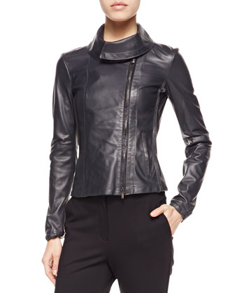 Large-Collared Leather Jacket, Slate