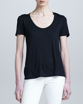 Short-Sleeve Classic Scoop-Neck Tee, Black