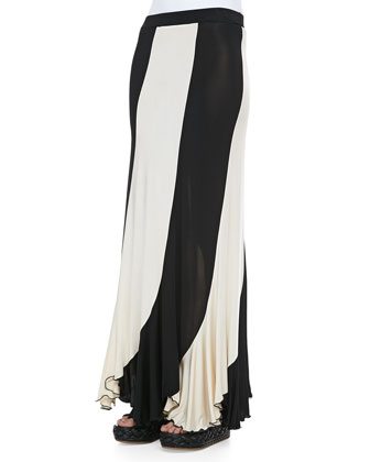 Jersey Paneled Maxi Skirt, Black/Cream