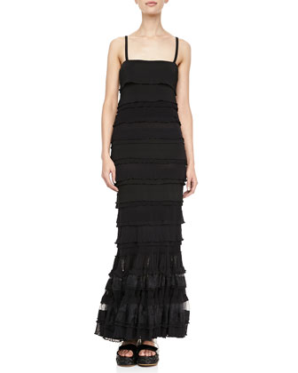 Long Ruffle-Tiered Dress, Black