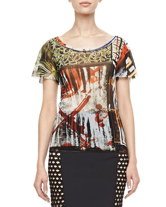 Flutter-Sleeve Printed Tee, Multicolor