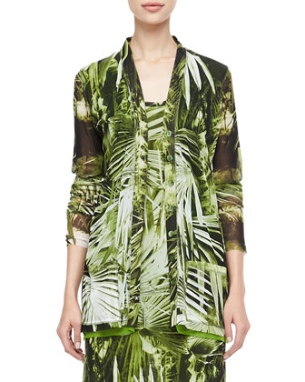 Long Fern-Print Cardigan, Green