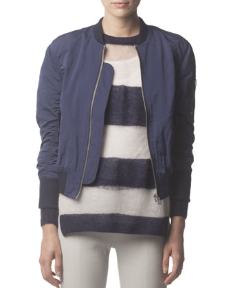 Zip-Up Tech Fabric Bomber Jacket, Midnight Blue