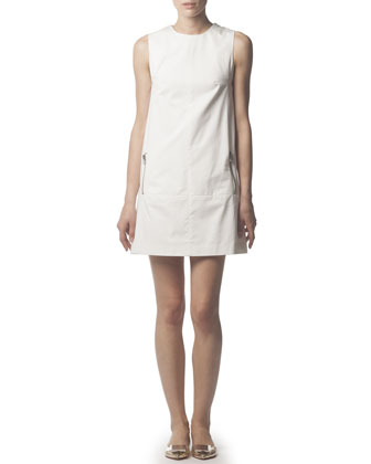 Zipper-Pocket Cotton Tunic Dress, White