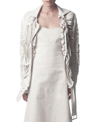 Slit Leather Jacket, White