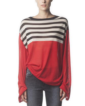 Long-Sleeve Striped Silk Top & Skinny Jeans