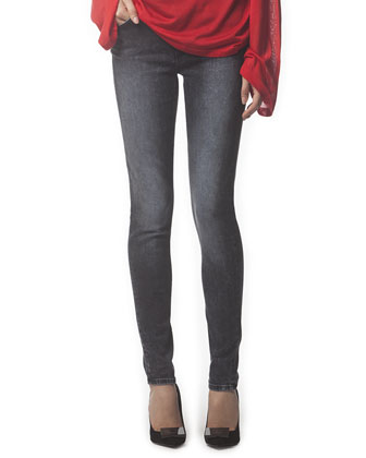 Faded 5-Pocket Skinny Jeans, Onyx