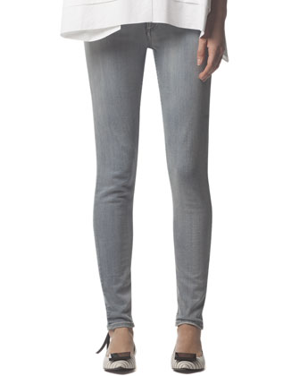 Skinny Jeans with Back Ankle Zip, Gray