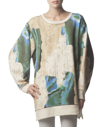 Long-Sleeve Avedon Print Sweatshirt, Blue/Taupe