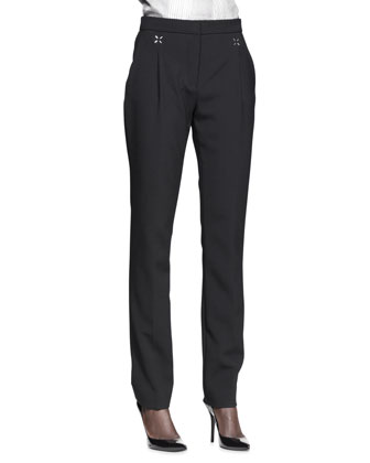 Pleat-Front Low-Waist Trousers