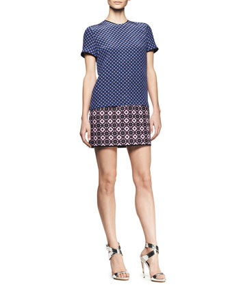 Mixed-Jacquard T-Shirt Mini Dress