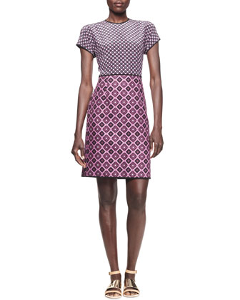 Mixed-Checker Jacquard Shift Dress