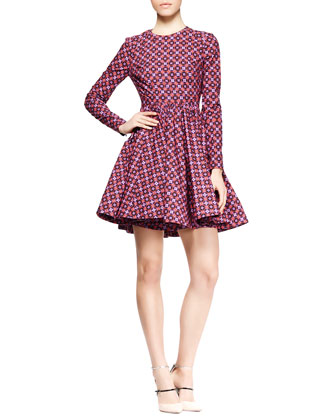 Long-Sleeve Printed Full-Skirt Dress