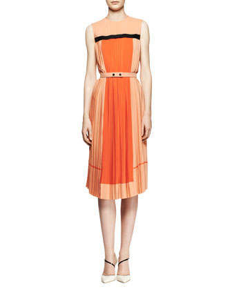 Pleated Colorblock Midi Dress