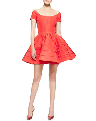 Short-Sleeve Faille Flare Dress, Azalea