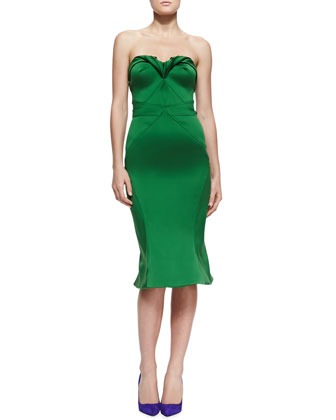 Strapless Sweetheart Satin Dress, Grass Green