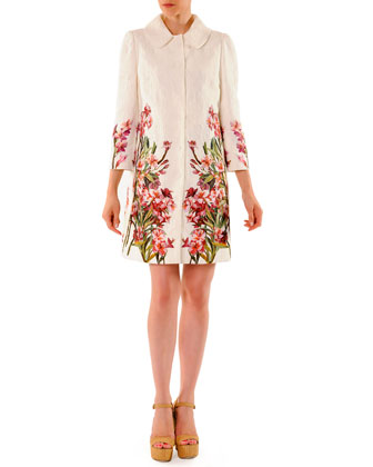 3/4-Sleeve Snap-Front Floral Jacquard Coat & Mini Shift Dress