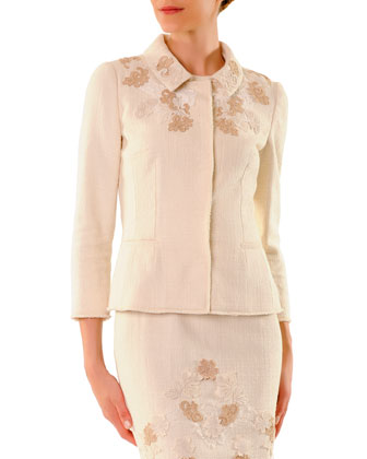 3/4-Sleeve Snap-Front Lace-Applique Jacket & Round-Neck Sheath Dress