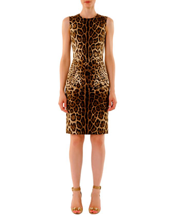 Leopard-Print Sleeveless Classic Sheath Dress