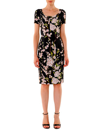 Short-Sleeve Floral Sheath Dress