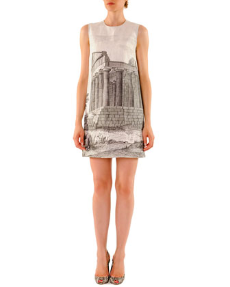 Ancient Ruin-Printed Linen Mini Shift Dress