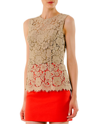 Sleeveless Scalloped Lace Top