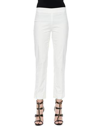 Cropped Cashmere-Silk Cigarette Pants