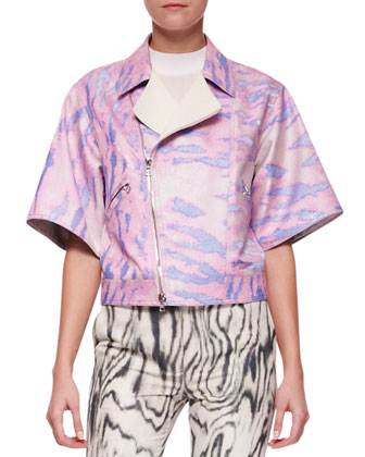 Short Kimono-Sleeve Moto Jacket, Cap-Sleeve Silk Top & Classic Printed Pencil Pants