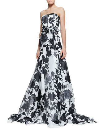 Strapless Belted Rose-Print Ball Gown