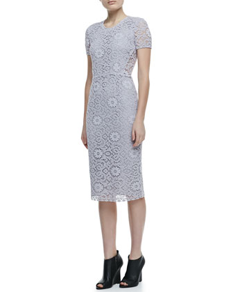 Short Sleeve Lace Dress, Pale Orchid