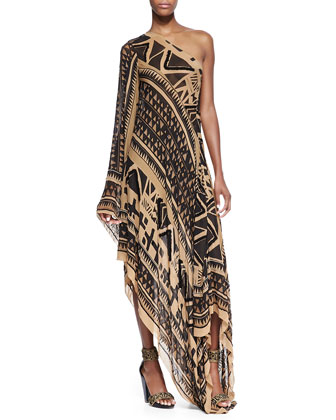 Embroidered One-Sleeve Asymmetric Printed Caftan