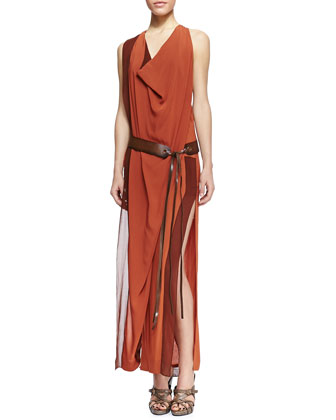 Draped Belted Side-Slit Dress