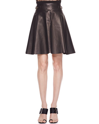 Buckled Lambskin Leather Skirt, Black
